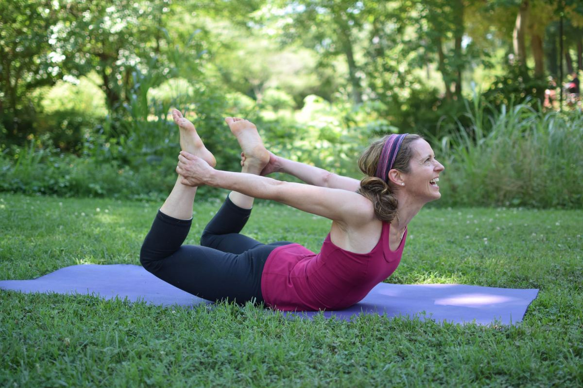 Melanie Dobson in Danurasana or Bow Pose